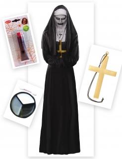 Diabolische Nonne Damenkostüm Halloweenkostüm 6-teilig schwarz-weiss