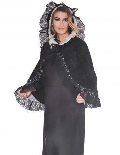 Spitzen-Umhang für Damen Kostüm-Accessoire schwarz