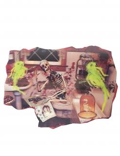 Skelett-Wanddekoration Halloween-Deko bunt 38x27cm