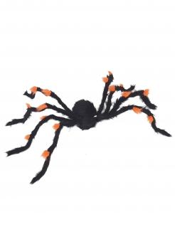 Riesen-Plüschspinne Halloween-Deko schwarz-orange 108cm