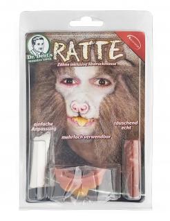 Ratten-Gebiss mit Fixiermasse Halloween-Makeup rot-gelb