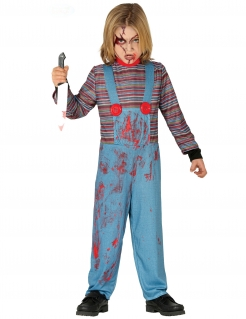 Mörderpuppe-Kostüm für Kinder Halloween-Kostüm blau-rot