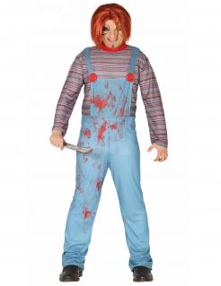Killerpuppen-Kostüm Horror-Kostüm für Halloween blau-rot