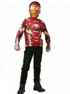 Iron Man™-Oberteil und Maske für Kinder rot-gold