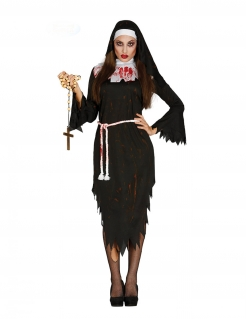 Halloween-Nonnenkostüm Blutige Nonne schwarz-weiss-rot