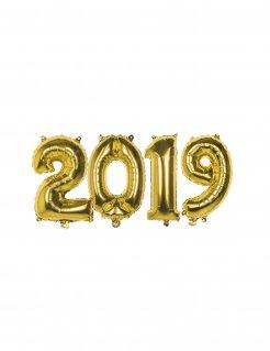 Silvester-Aluminiumballons 2019 Party-Deko 4 Stück gold 36cm