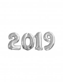 Aluminium-Ballons 2019 Silvester-Deko silber 35cm