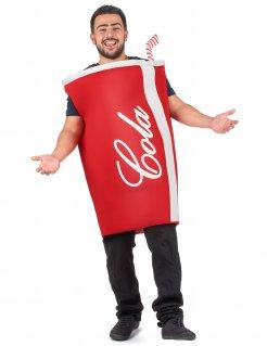 Lustiges Cola-Becher Kostüm für Erwachsene rot-weiss