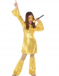 Disco-Queen-Kostüm für Mädchen goldfarben