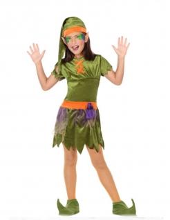 Kobold-Kinderkostüm für Mädchen grün-lila-orangefarben