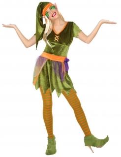 Elfen-Kostüm für Damen Faschingskostüm grün-orange