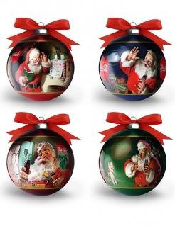 Coca Cola™-Weihnachtskugeln Dekoration 1 Stück bunt 7,5cm