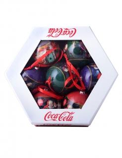 Coca Cola™-Christbaumkugeln 7 Stück in Geschenkbox bunt 7,5cm