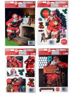 Coca Cola™-Fenstersticker Weihnachts-Dekoration bunt 30x20cm