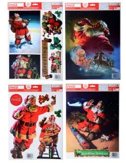Coca Cola™-Fensteraufkleber Weihnachtsmann bunt
