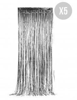 Vorhang-Set Silvester-Deko glitzernd 5 Stück silber 90x244cm