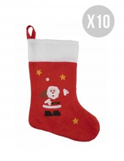 Weihnachts-Stiefel Weihnachts-Dekoration 10 Stück rot-weiss-schwarz 48cm