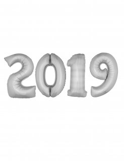 Riesen-Aluminiumballons Silvester-Deko 2019 4 Stück silber 1m