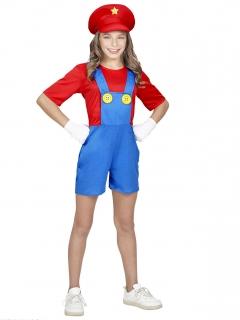 Klempner Kostüm für Mädchen rot-blau-gelb
