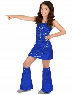 Disco-Kostüm für Mädchen Faschingskostüm blau