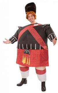 Aufblasbare Schotten-Kostüm für Herren Faschingskostüm schwarz-rot
