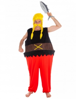 Verleihnix™-Kostüm für Herren Asterix und Obelix Faschingskostüm schwarz-rot