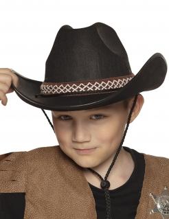 Cowboy-Hut mit Hutband für Kinder schwarz-braun