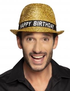 Geburtstags-Hut Happy Birthday für Erwachsene gold
