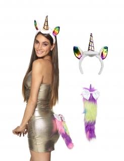Einhorn-Haarreif und Schwanz für Damen Accessoire bunt