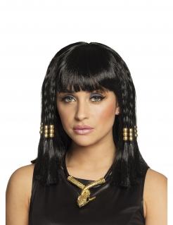 Ägypter-Perücke für Damen Cleopatra-Perücke mit Haarschmuck schwarz