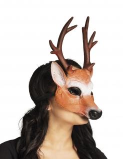 Hirschmaske für Erwachsene Halbmaske braun