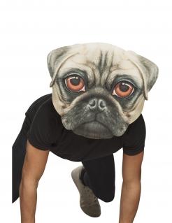 Riesige Mops-Maske Hundemaske für Erwachsene beige-schwarz-braun