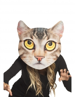 Riesige Katzenmaske für Erwachsene Schaumstoffmaske gelb-braun-schwarz