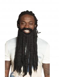 Rastalocken-Bart Kostümaccessoire für Erwachsene schwarz
