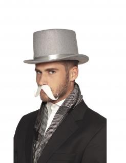 Schnurrbart mit Klebestoff Kostümaccessoire weiss