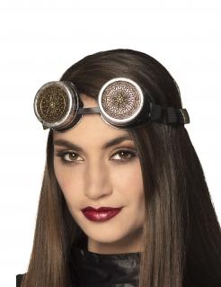 Steampunk-Brille Kostümaccessoire schwarz-gold