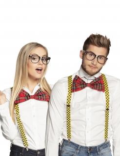 Brille und Fliege Accessoire-Set Nerd rot-schwarz