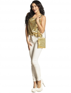 Pailletten-Handtasche Umhängetasche Accessoire gold