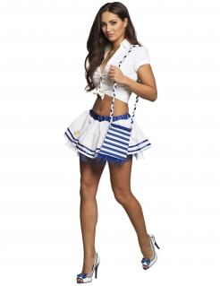 Gestreifte Marine-Tasche Kostümaccessoire weiss-blau