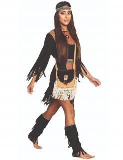 Indianer-Tasche für Damen beige-schwarz