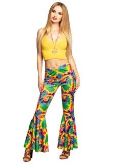 Hippie-Schlaghose 70er-Kostüm für Damen bunt