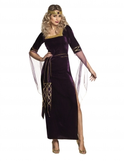 Mittelalterliche Hofdame Kostüm für Damen lila-gold
