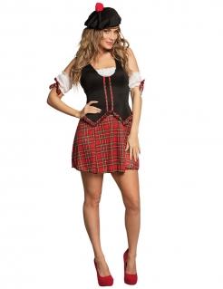 Sexy Schottin Kostüm für Damen schwarz-rot-weiss