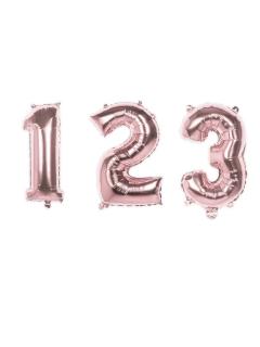Aluminium-Ballon Zahlen 0-9 Partydeko metallic rosa 36cm