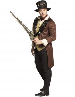 Steampunk-Pistole und Schwert Kostüm-Accessoire für Erwachsene silberfarben 84 cm