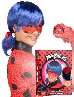 Ladybug™ Perücke mit Maske für Erwachsene blau-rot-schwarz