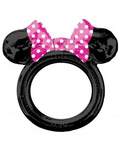 Minnie™-Aluminiumballon Photobooth-Rahmen schwarz-rosafarben-weiß 71 x 73 cm