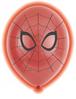 Spiderman™-Luftballons LED Partydeko 5 Stück rot-schwarz 28cm