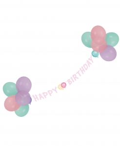 Luftballon-Girlande Happy Birthday rosa 1,5 m