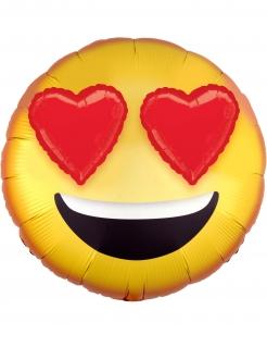 Aluminiumballon Smiley mit Herz-Augen gelb-rot 43 cm